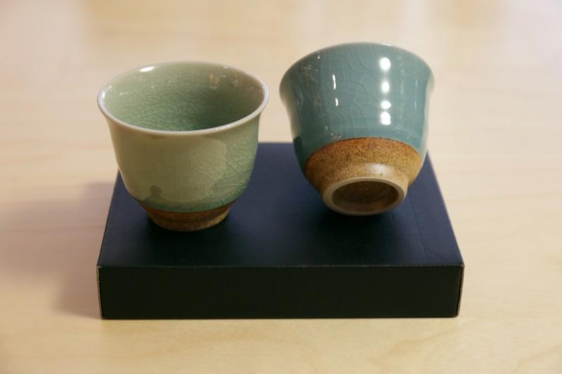 Coffret 2 bols à thé  tulipe – Céladon – PH-742