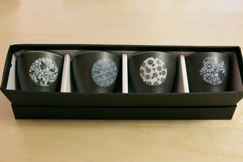 Coffret 4 bols à thé evasé – Mégane – Noir avec rond décoré